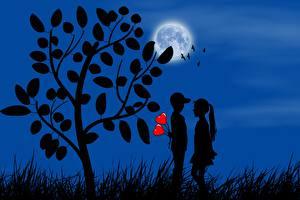 Фотография Любовь Сердце Вдвоем Луна Дерево Силуэт