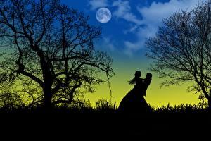 Обои Любовь Ночные Луной Деревья Силуэты Вдвоем Свидании