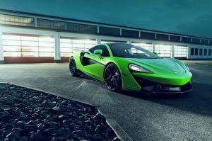 Картинка Макларен Зеленая Металлик Novitec, 570GT Автомобили