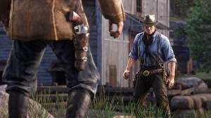 Обои Мужчины Red Dead Redemption 2 Револьвера Arthur Morgan Игры 3D_Графика