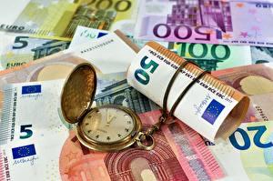 Фотографии Деньги Купюры Евро Часы Карманные часы