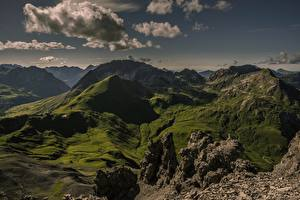Фото Горы Австрия Облака Tirol, Ausserfern Природа