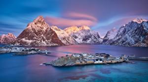 Фотографии Норвегия Гора Остров Мост Рассвет и закат Lofoten Islands Природа