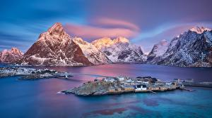 Фотографии Норвегия Гора Остров Мост Рассвет и закат Lofoten Islands