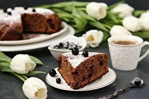 Обои Выпечка Чай Тюльпан Пирог Смородина Чашка Кусочек Блюдце Продукты питания