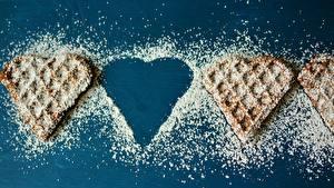 Картинки Выпечка Вафли Сахарная пудра Сердца Еда