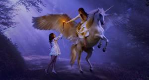 Картинки Пегас Единороги Крылья Тумана Посохи Девушки