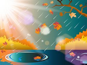 Картинка Дождь Осенние Векторная графика Ветки Листья Лужа Солнце Природа