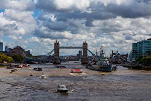 Обои Реки Мосты Корабли Речные суда Англия Лондон Tower bridge Города