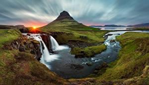 Фото Река Водопады Исландия Пейзаж Солнце Kirkjufell Природа