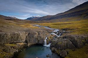 Картинки Река Водопады Исландия Skorhagafoss
