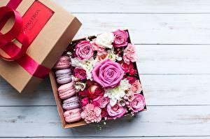 Фотография Розы Подарки Коробки Макарон цветок