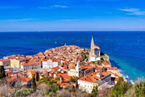 Фотографии Море Дома Словения Сверху Piran город