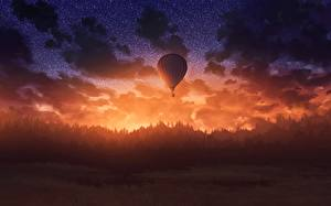 Обои Небо Леса Вечер Рассвет и закат Аэростат Фэнтези