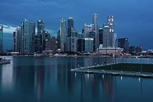 Фотография Небоскребы Сингапур Вечер Мегаполиса город