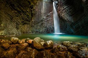 Фотографии Словения Водопады Камень Утес Kozjak Waterfall Природа
