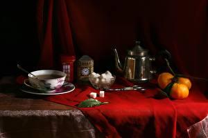 Картинки Натюрморт Мандарины Чайник Чашке Сахара Еда