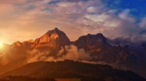 Фотография Рассвет и закат Лес Горы Пейзаж Тумана Природа