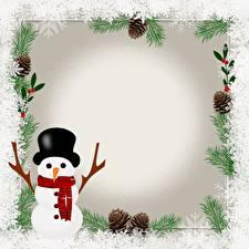 Фотография Шаблон поздравительной открытки Снеговики Шляпе Шарф Снежинка Шишки
