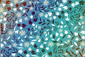 Обои для рабочего стола Узоры Текстура Растения На ветке Лист