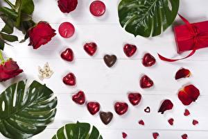 Фото День святого Валентина Конфеты Сердце Еда