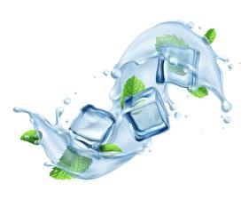 Картинка Вода Белый фон Кубики Лед С брызгами Мяты 3D Графика