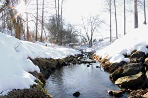Обои Зимние Камни Снегу Ручеек Природа