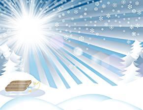 Картинки Зимние Векторная графика Снега Санках Солнца Лучи света Снежинки Природа