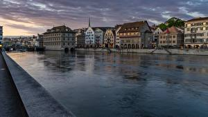 Фотографии Цюрих Швейцария Река Здания Рассветы и закаты Limmat Города