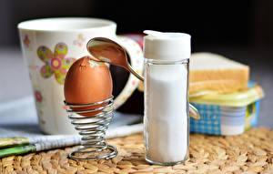 Картинка Завтрак Яиц Ложки Соль soft-boiled
