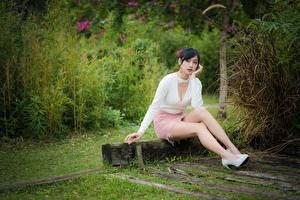 Фотографии Азиатки Поза Сидящие Ноги Юбки Декольте Брюнетка Молодые женщины Девушки