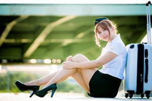 Фотографии Азиатки Сидящие Боке Ног Красивая Туфель Униформе Чемоданом Стюардесса Позирует девушка