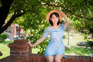 Обои Азиатки Сидящие Платья Шляпы Улыбается Брюнетки девушка