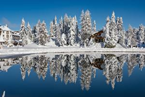 Фотографии Австрия Озеро Зима Снега Отражение Turracher See, Styria Природа