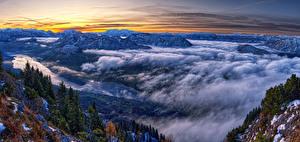 Фото Австрия Пейзаж Горы Ели Облако Styria Природа