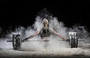 Фотографии Штангой Блондинки Спины Тренируется Рука спортивные Девушки