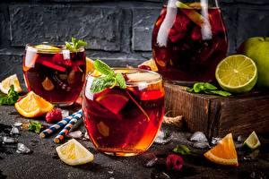Обои Ягоды Лайм Апельсин Напиток Лимонад Стакане Кувшины Еда