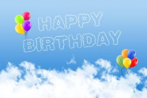 Обои для рабочего стола День рождения Слова Воздушные шарики Английская Облачно