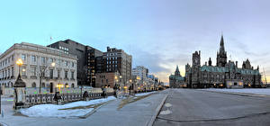 Обои Канада Зимние Здания Дороги Улице Уличные фонари Ottawa Ontario город