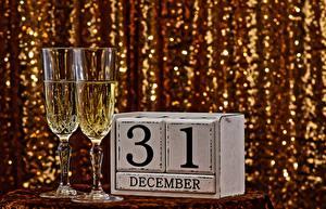 Фотография Шампанское Новый год Бокалы Английский