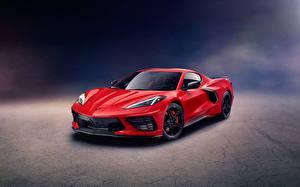 Фотография Шевроле Красных Металлик Купе Corvette, Stingray, Z51, 2020 машины