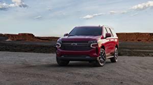 Фотографии Шевроле Спереди Красный Металлик SUV Tahoe, 2020 Автомобили