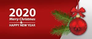 Обои для рабочего стола Рождество 2020 Английская Шар Бантики