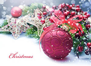 Картинка Новый год Ягоды Английский Шарики Бантик Ветки Слово - Надпись