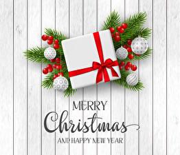 Картинка Новый год Ягоды Английский Ветки Подарки Шарики Слово - Надпись 3D Графика