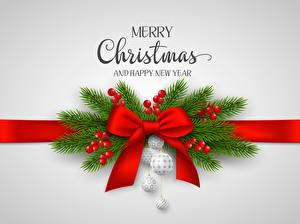 Фото Новый год Ягоды Серый фон Английский Ветки Шарики Бантик Слово - Надпись
