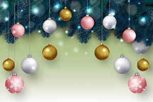 Фото Новый год Ветки Шарики Разноцветные Шаблон поздравительной открытки
