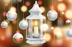 Фото Новый год Свечи Английский Шарики Слово - Надпись