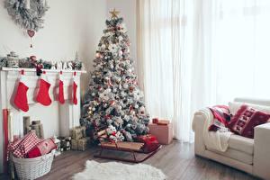 Фотографии Новый год Елка Комната Носки