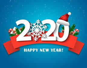 Фотография Новый год Цветной фон 2020 Шапки Снежинки Английский